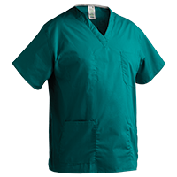 Medical scrubs like this V-Neck Unisex Scrubs Shirt with Lower Pocket featured in this image are available in many colors. This hospital scrub shirt is shown in Jade,