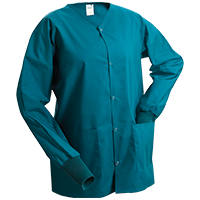 Warm Up Jackets such as the one shown here are part of our hospital scrubs program. This Unisex Scrubs Warm Up Jacket is shown in Teal and, as part of our medical scrubs program, is utilitarian and stylish.